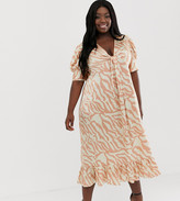 Asos DESIGN Curve knot front midi dress in natural zebra print
