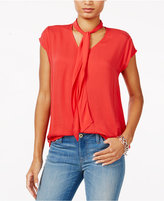 Tommy Hilfiger Textured Tie-Neck Top, Only at Macy's
