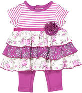 Baby Essentials Purple Floral Ruffle Tunic & Leggings - Infant