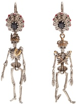 Alexander McQueen Crystal-embellished skeleton earrings
