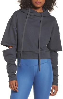 Alo Peak Cutout Sleeve Pullover Crop Hoodie