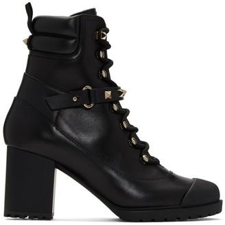 Valentino Black Garavani Rockstud Heeled Combat Boots