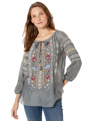 3J Workshop by Johnny Was Women's Eyelet Peasant Blouse
