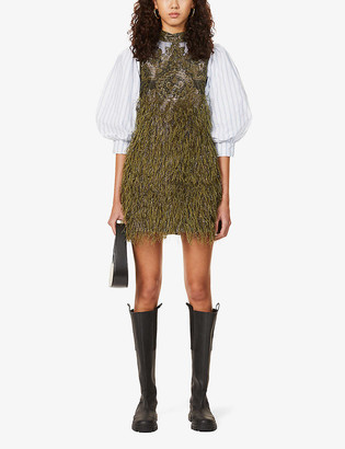 Ganni Faux-feather embroidered cotton-blend mini dress