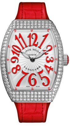 Franck Muller Vanguard Stainless Steel, Diamond, Alligator & Rubber Strap Watch