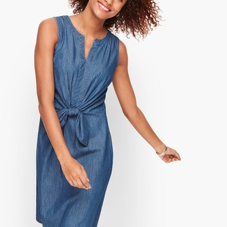 Talbots Denim Tie Front A-Line Dress