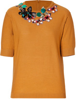 Sonia Rykiel Sonia by Wool Knit Embellished Collar Top in Gold