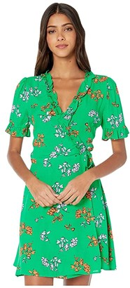 Lost + Wander Get Lucky Mini Wrap Dress (Green) Women's Clothing