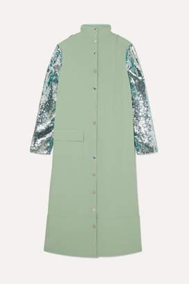 Tibi Reversible Sequined Crepe Midi Dress - Mint