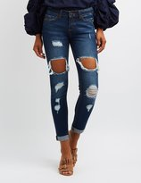 Charlotte Russe Destroyed Cuffed Skinny Jeans