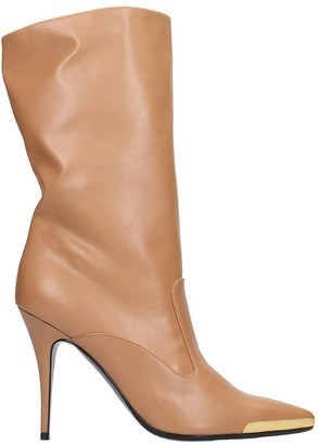 Stella McCartney High Heels Ankle Boots In Beige Faux Leather