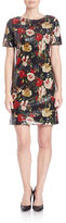 Andrew Marc Floral Sequined Shift Dress
