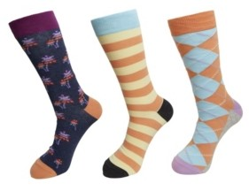 HS by Happy Socks 3-Pack Striped Palm Socks