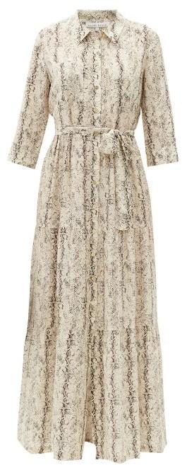 Heidi Klein Snake-print Tiered Silk Maxi Shirt Dress - Beige Multi