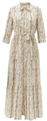 Heidi Klein Snake-print Tiered Silk Maxi Shirt Dress - Beige Multi