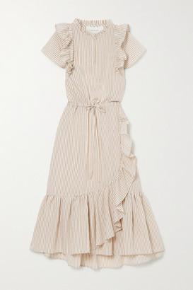 MUNTHE Moderate Ruffled Striped Voile Midi Dress - Ecru