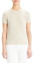 Theory Short Sleeve Linen & Cashmere Sweater