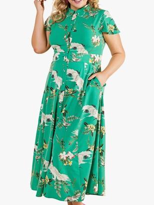 Yumi Curves Crane Print Shirt Dress, Green