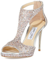 Jimmy Choo Lana Glitter T-Strap 100mm Sandal, Pink Metallic