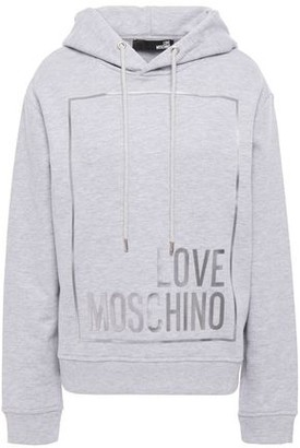Love Moschino Metallic-trimmed Printed French Cotton-terry Hoodie