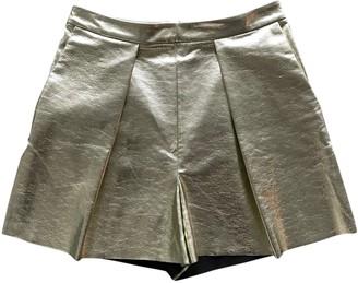 MSGM Gold Polyester Shorts