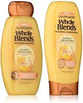 Garnier Whole Blends Haircare - Repairing Shampoo & Conditioner Set - With Royal Jelly Honey & Propolis Extracts - Net Wt. 12.5 FL OZ (370 mL) Per Bottle - One Set
