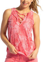 Lagaci Women's Tank Tops CORAL - Coral Palm Leaf Lace-Up V-Neck Tank - Women