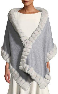 Gorski Wool Rabbit-Fur Trim Stole