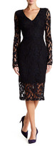 Rachel Roy Long Sleeve Back Cutout Lace Midi Dress