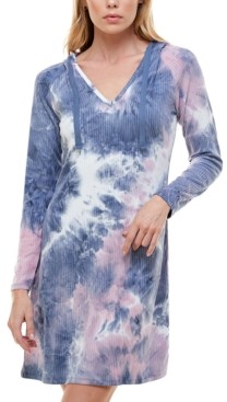 Planet Gold Juniors' Tie-Dyed Hoodie Dress