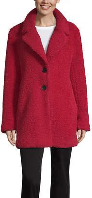 Liz Claiborne Sherpa Lightweight Faux Fur Coat Tall