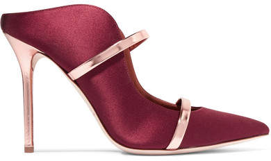 Malone Souliers by Roy Luwolt - Maureen 100 Metallic Leather-trimmed Satin Mules - Burgundy