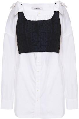 Chalayan Tie-back Layered Jacquard And Cotton-poplin Blouse