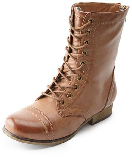 Charlotte Russe Lace-Up Plaid-Lined Combat Boots