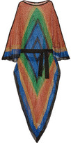 Balmain Color-block Metallic Open-knit Kaftan - Bright blue