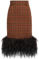 Prada Feather-trimmed checked wool pencil skirt