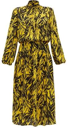 No.21 No. 21 - Tie-neck Zebra-print Crepe Midi Dress - Womens - Black Yellow