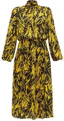 No.21 No. 21 - Tie Neck Zebra Print Crepe Midi Dress - Womens - Black Yellow
