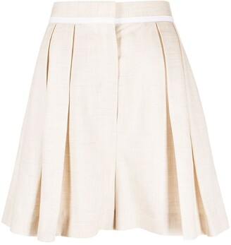 Stella McCartney High-Waist Pleat-Detail Tailored Shorts