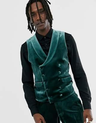 Asos Design DESIGN super skinny tuxedo suit vest in forest green velvet