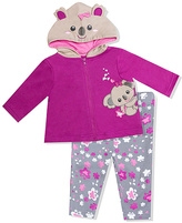 Baby Essentials Gray & Pink Koala Zip-Up Hoodie & Pants - Infant