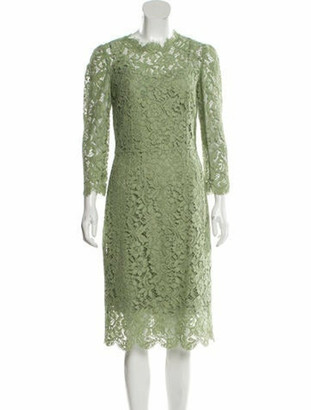 Dolce & Gabbana Guipure Lace Midi Dress Green