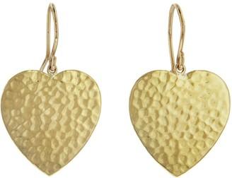 Jennifer Meyer Hammered Heart Yellow Gold Drop Earrings