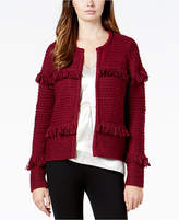 Kensie Fringed Open-Front Cardigan