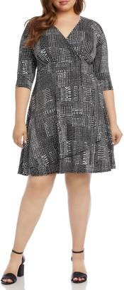 Karen Kane Faux Wrap Drape Dress (Plus Size)