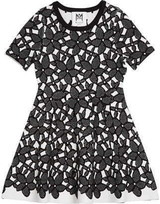 Milly Floral-Mesh Jacquard Short-Sleeve Dress, Size 7-16