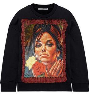 Stella McCartney Tasseled Printed Velvet-paneled French Cotton-terry Sweatshirt