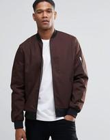 Asos Bomber Jacket With Sleeve Zip In Dark Brown