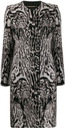Roberto Cavalli Leopard Print Knit Overcoat
