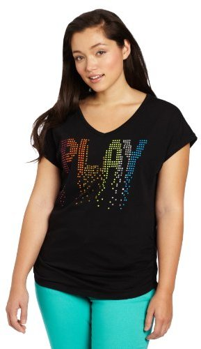 Southpole Juniors Plus-Size Side Ruched V-Neck Play Tee with Colorful Studs
